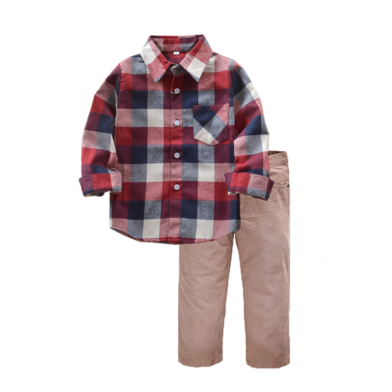 Kids Boys Autumn 2 pieces Clothing Set long sleeves Plaid Shirt+Jeans cotton clothing set for children boys clothes High Quality