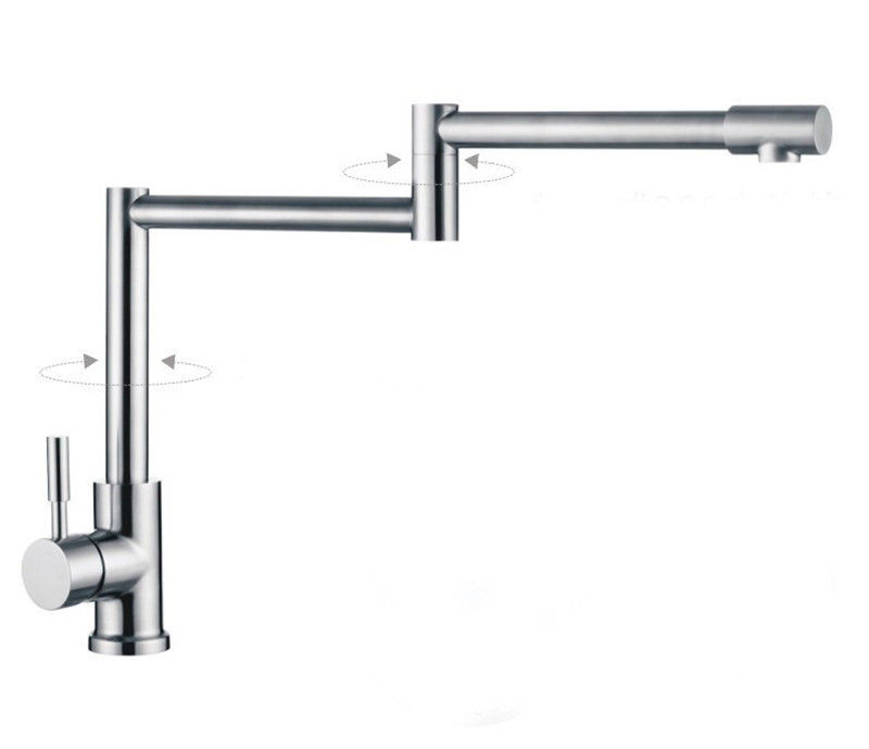 Kitchen 304stainless steel folding mixer faucet sink basin 360rotation lead-free stainless steel manual push self turning stirrer egg beater whisk mixer kitchen wholesale price