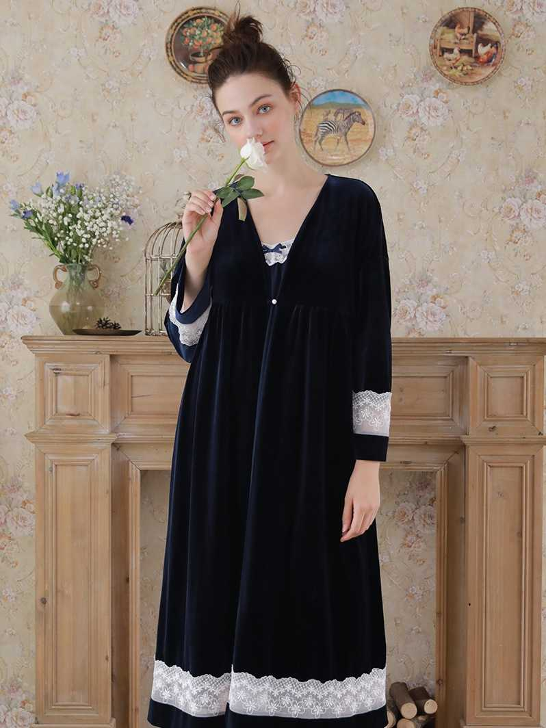 9ac68860d01 ... Элегантный халат платье комплекты осень Для женщин пижамы пеньюар  наборы Темно-Синий халат кружева кимоно ...
