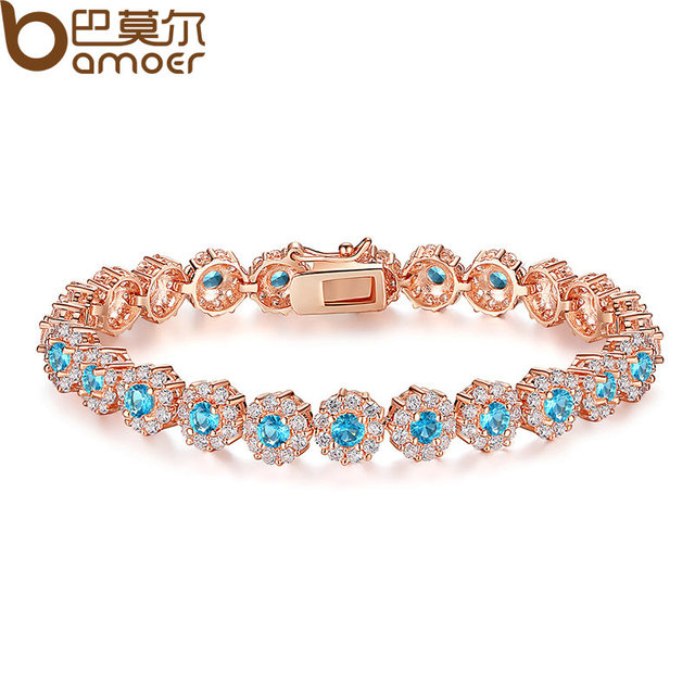 2017 New Hot Sale Blue Crystals Luxury Fashion Rose Gold Plated Women Bracelet Party Jewelry Wholesale JIB081