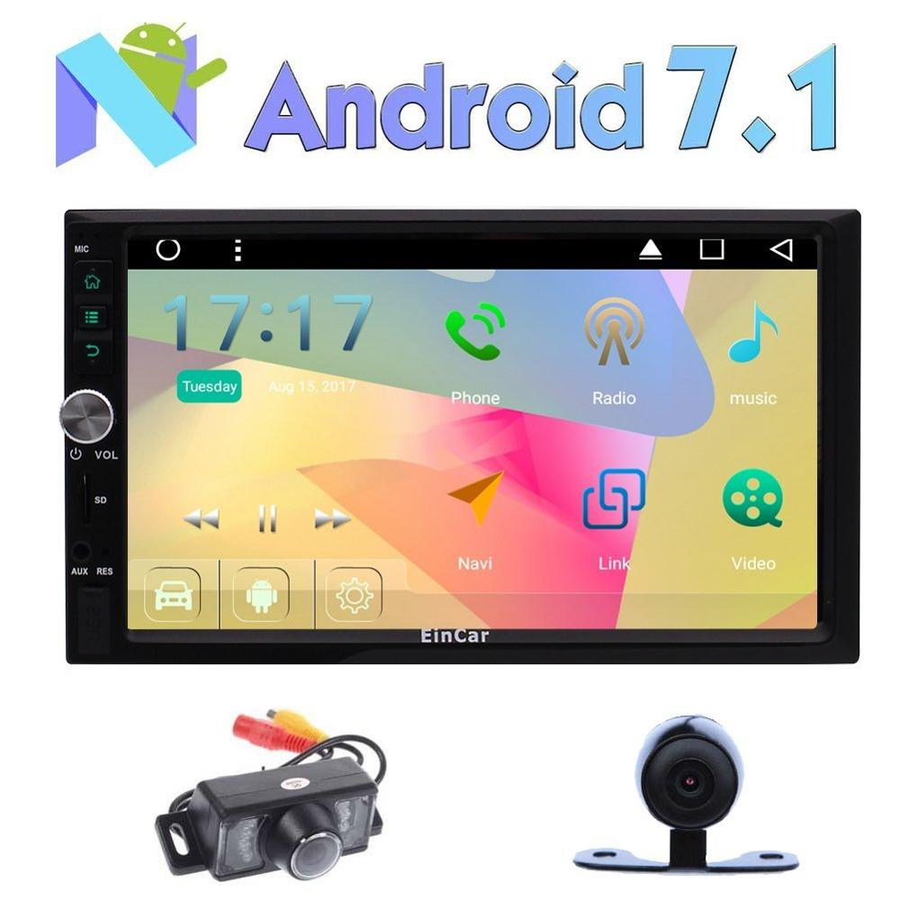 Android 7.1 Autoradio 2 Din Car FM Stereo Head Unit GPS Navigation Sat Nav HD Touch Screen Support USB/SD OBD 3G/4G Dual Cam-IN