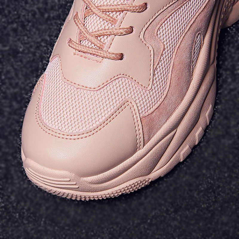Women's Chunky รองเท้าผ้าใบ 2019 แฟชั่นสตรีแพลตฟอร์มรองเท้าลูกไม้สีชมพู Vulcanize รองเท้าสตรีหญิง Trainers รองเท้าพ่อ