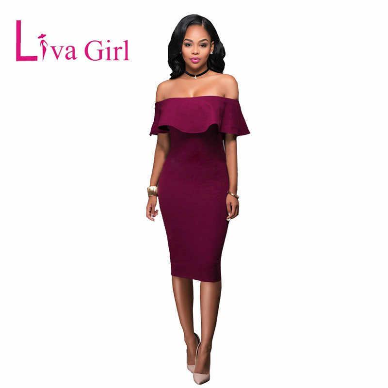 080dd79b2de LIVA GIRL Red Off Shoulder Midi Dress Women Black Sexy Strapless Ruffles  Ruched Bodycon Slash Neck
