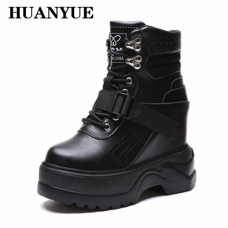 4a03a6c824b 2018 Women Ankle Boots Winter Leather Shoes Woman Lace Up Platform Boots  Motorcycle Booties Autumn Wedges