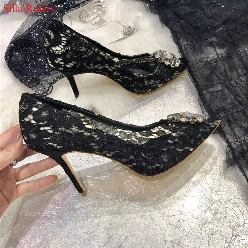 New Fashion Rhinestone Pink Green Red Lace Women Pumps Stiletto High Heels Women Wedding Shoes Woman Ladies Shoes Zapatos Mujer 2016 new pink pearl sexy party shoes women round toe stiletto high heels back strap dating ladies pumps zapatos mujer 3463b c2