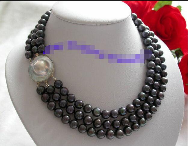 Free Shipping >> 3strands 10mm round black freshwater pearls necklace Mabe pearls clasp free shipping imitation pearls chain flatback resin material half pearls chain many styles to choose one roll per lot