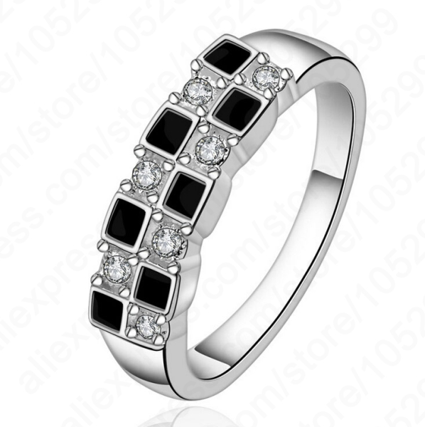 2016 Popular Simple Design 925 Sterling Silver Cubic Zirconia Crystal Woman Lady Finger Rings 1 PC Free Shipping