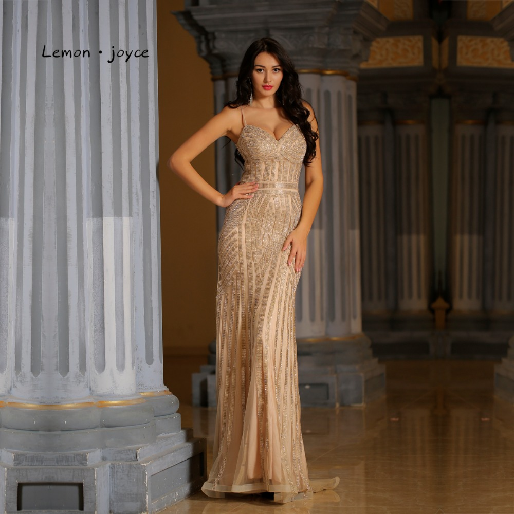 Lemon joyce Champagne Evening Dresses Long 2019 Luxury Crystals Sexy V-neck Mermaid Party Gowns Plus Size robe de soiree(China)