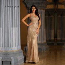 Limón joyce Champagne vestidos de noche largo 2019 de lujo cristales de  cuello-V Sexy sirena vestidos fiesta Plus tamaño vestido. 28a8e5fb25de