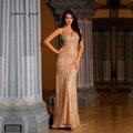 Женское вечернее платье-русалка, длинное платье цвета шампанского с V-образным вырезом, лето 2020
