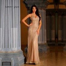 Zitrone joyce Champagne Abendkleider Lange 2020 Sexy V ausschnitt Meerjungfrau Abendkleid Party Kleid Plus Größe robe de soiree