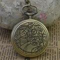 Мода кварц женщина астрономия доктор кто карманные часы ожерелье классических старинные античный брелок часы древние бронза классический ретро