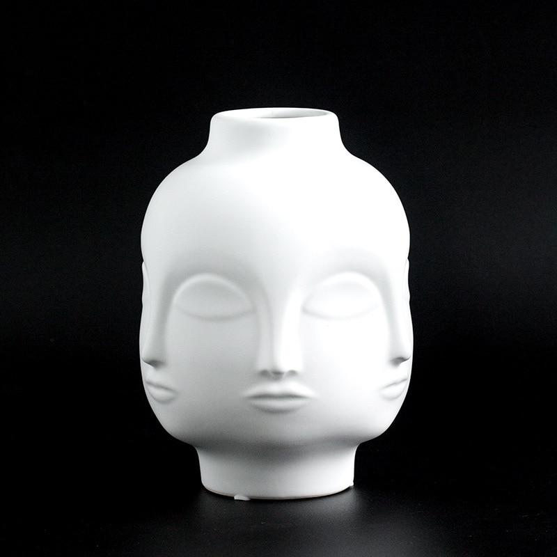 Ladies Face Head Planter Vase Face Vase for Flower Human Face Flower Vase Succulent Pot Home Garden Ornament White Ceramic Craft vase