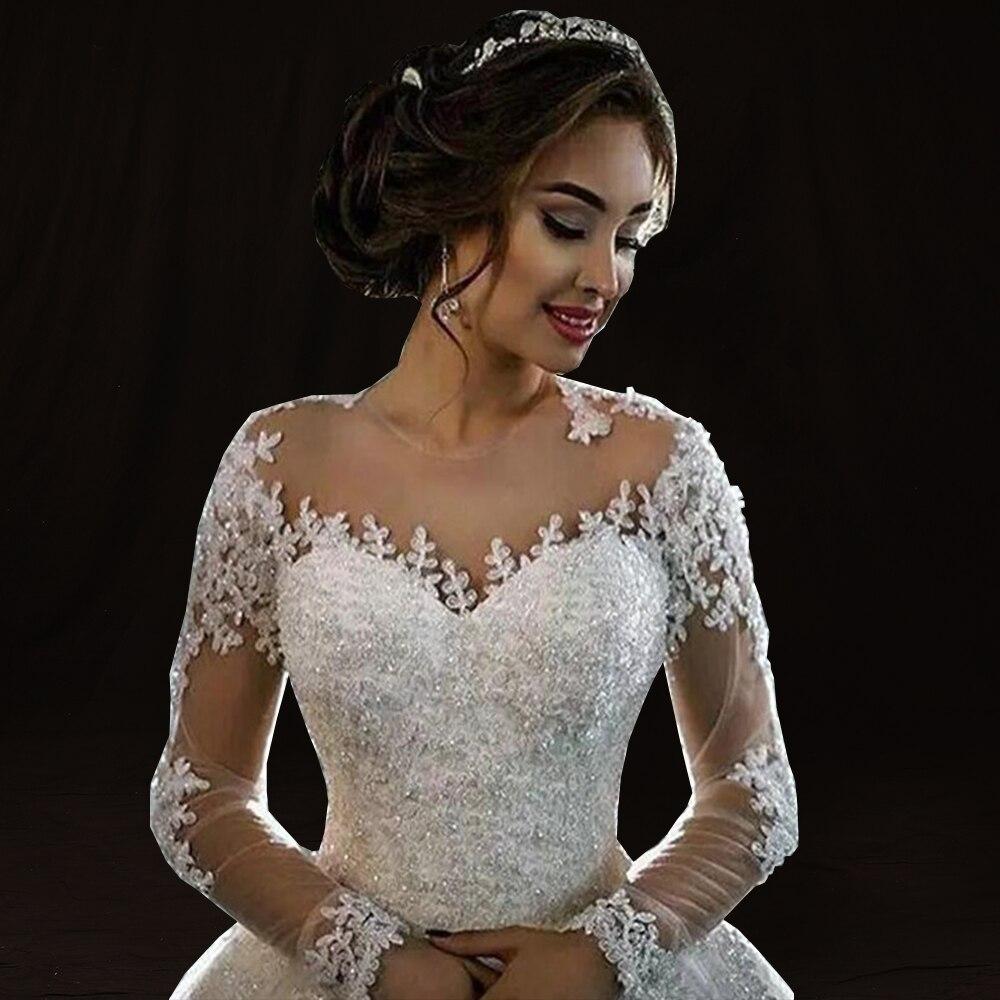 Image 4 - Robe de mariage Ball Gown Wedding Dress 2018 Long Sleeves Skin Tulle Wedding Gowns Luxury Beaded Bride Dresses Vestido de Novia-in Wedding Dresses from Weddings & Events