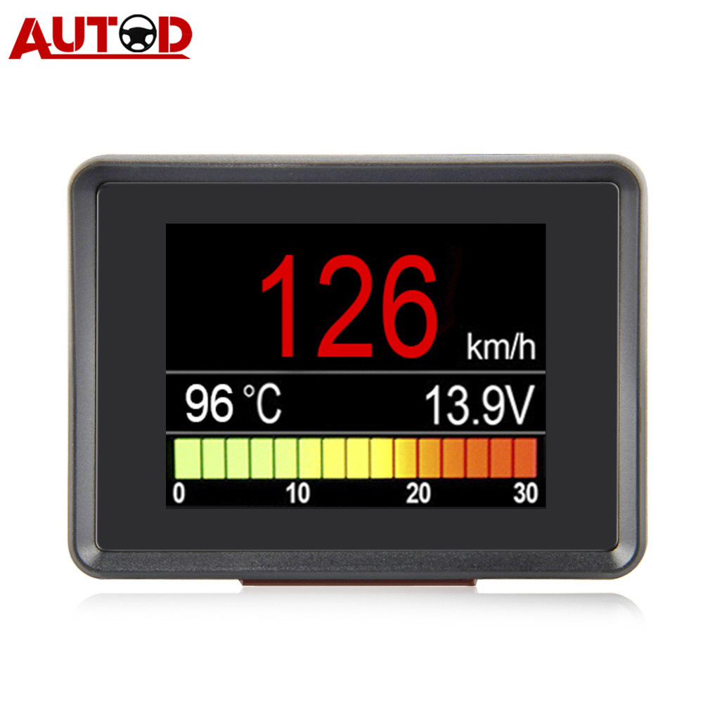 A203 OBD2 Coolant Temperature Gauge Diagnostic Tool Scanner Tachometer Speedometer Fuel Computer On-Board Car Computer OBD 2