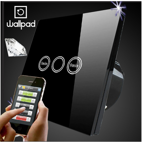 Wallpad EU UK Crystal Glass Black Wireless Remote control wall Timmer  touch switch, Wifi Time Delay Switch,Free Shipping eu 1 gang wallpad wireless remote control wall touch light switch crystal glass white waterproof wifi light switch free shipping