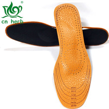 Cn Herb 2 pairs Leather foot GongQuan pad activated carbon flat feet sweat absorption care insoles correction