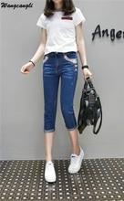 Wangcangli New Brand Women Jeans Lace Pocket  Skinny High Waist  Plus Size Bleached Fashion Calf Length Pencil Pants