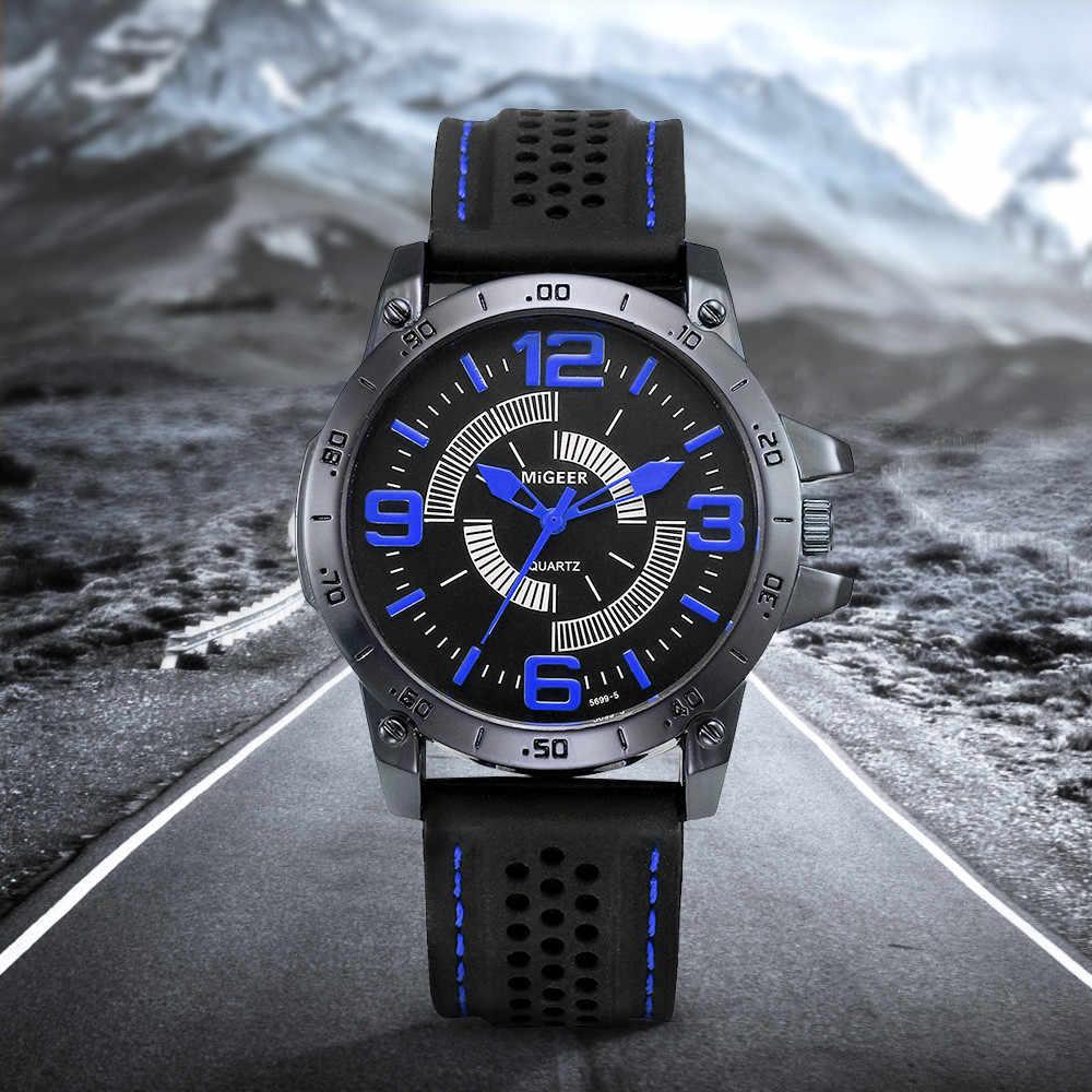 MIGEER 2018 hommes mode Silicone bracelet Sport Cool Quartz heures poignet analogique montre hommes montre Relogio Masculino