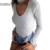 UZZDSS Sexy Gargantilla de Alta Cuello Plunge V Acanalado Hombro de Las Mujeres Del Otoño Primavera de Manga Larga Monos Mamelucos Playsuits Buzos Nueva