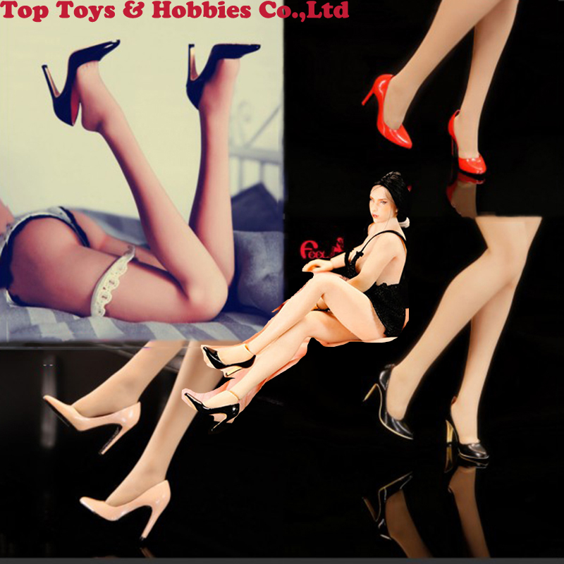 FT015 1/6 1/12 Escala Figura Feminina Sapatos de salto Alto vazio dentro senhoras menina sapatos PVS Para 6