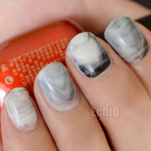 Online Shop Squoval Short Press On Nails Marble Gray Stones Pattern ...