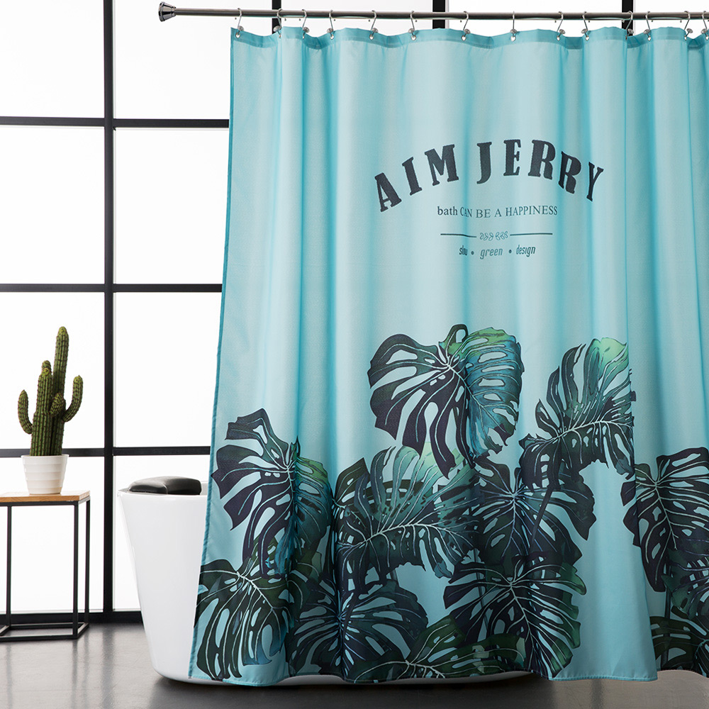 Modern bathroom curtains - Aimjerry Green Leaves Shower Curtain Fabric Modern Bathtub Bathroom Curtain With 12 Hooks Custom 71