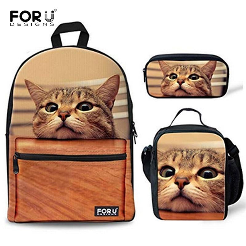 FORUDESIGNS 3Pcs set Cute Cat Printing Canvas School Bags for Teenage Girls Primary School Backpacks Schoolbags
