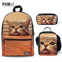 FORUDESIGNS 3Pcs/set Cute Cat Printing Canvas School Bags for Teenage Girls Primary School Backpacks Schoolbags Mochila Infantil