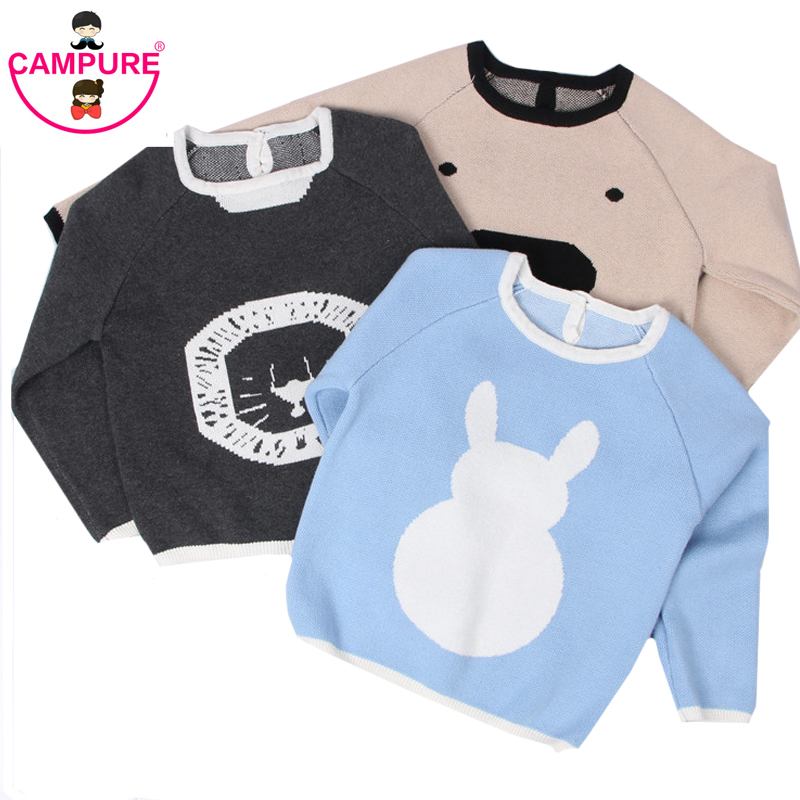 2017 New Baby Boys Girls Children Sweater Kids Rabbit Knitted Creature Pattern SpringAutumn Pullovers Warm Outerwear Sweaters