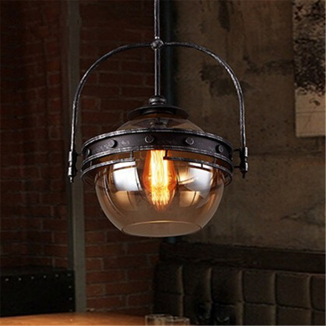 Loft Style Vintage Amber Edison Glass Pendant Lights,Retro Iron Art Pendant  Lamps For Cafe
