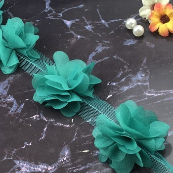24pcs flowers 3D Chiffon Cluster Flowers Lace Dress Decoration Lace Fabric Applique Trimming Sewing Supplies кружево 1