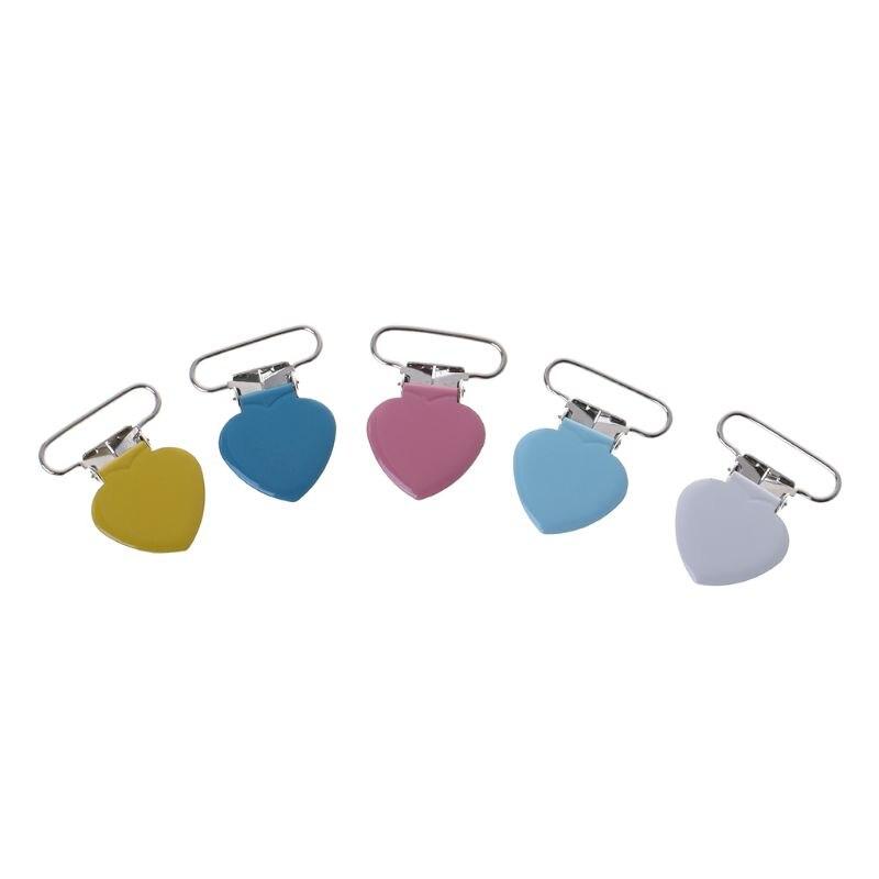 10 Pcs/Set Pacifier Clip Heart Shape Braces Clips Metal Suspender Clamp Nipple Soother Holder Dummy Care Nursing Dec17
