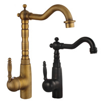 European Retro Rotatable Hot and Cold Faucet Antique Mixing Faucet Black High and Low Rotatable Bathroom Countertop Faucet
