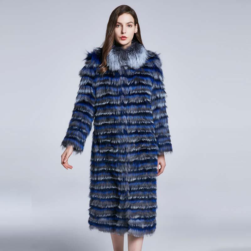 Long fox fur coat female coat winter furry fur collar real fur coat women jacket fashion stitching personality design 2018 new