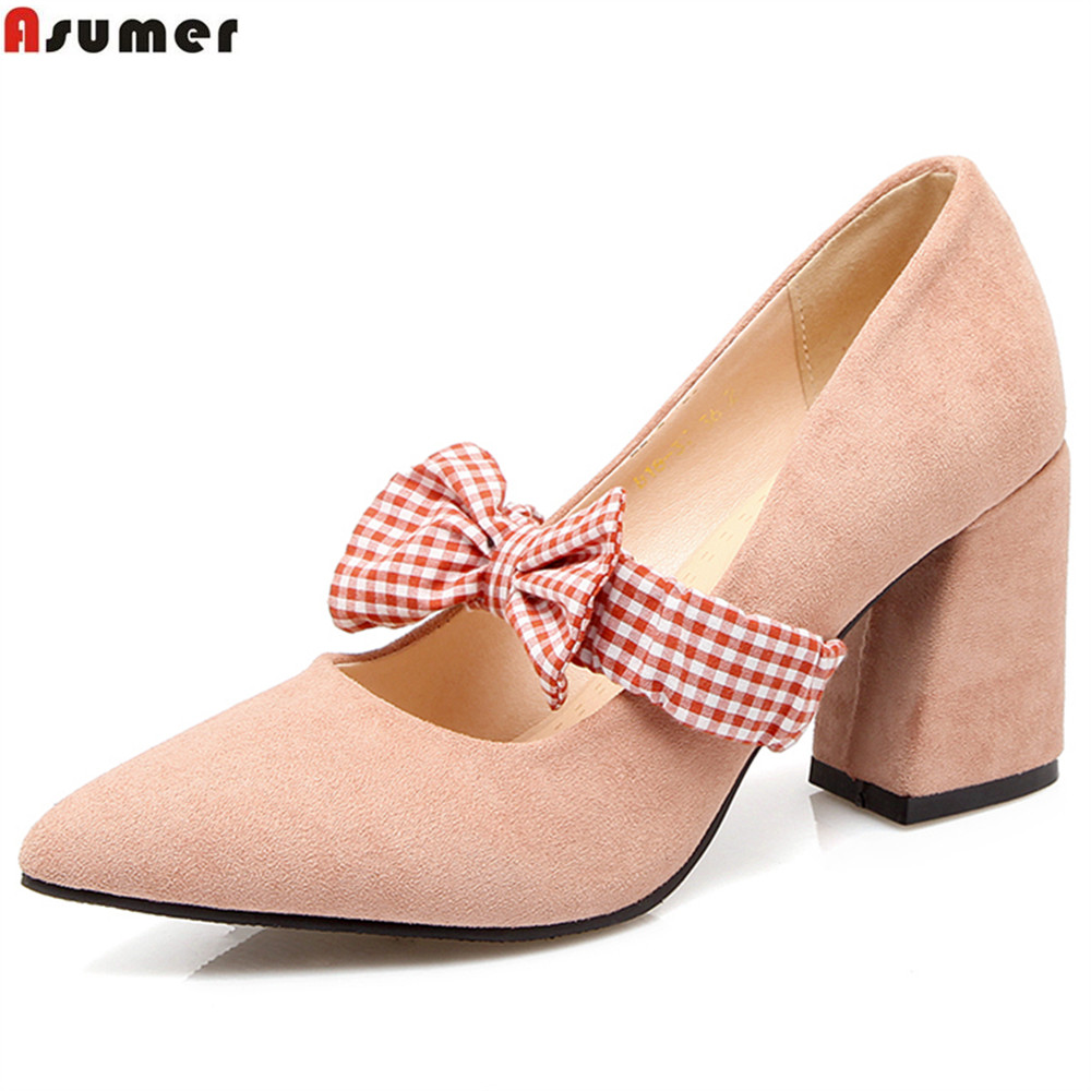 Asumer red black fashion spring autumn new arrival women shoes pointed toe ladies pumps square heel elegant high heels shoes xiaying smile new spring autumn women pumps british style fashion casual lace shoes square heel pointed toe canvas rubber shoes