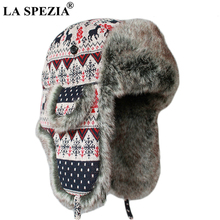 LA SPEZIA Women Bomber Hats with Earflap Russian Fur Hat Ushanka Soviet Female Winter Snow Christmas Ladies Warm Trapper