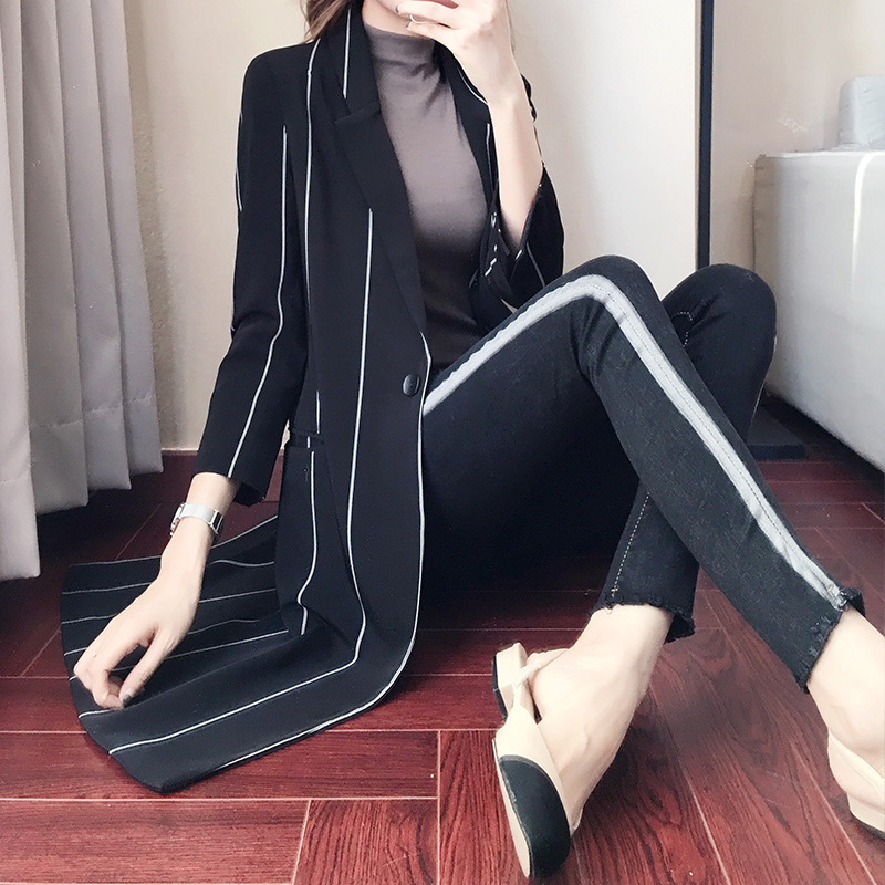 Mingyuan Windbreaker New Style In Spring And Autumn / Long Windbreaker Leisure Jacket With Slim Stripe Lapel