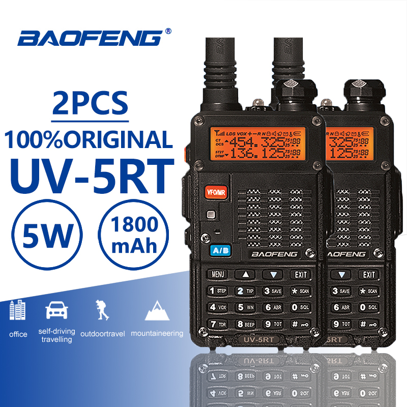 2pcs Baofeng UV 5RT Walkie Talke Radio Comunicador UV 5RT CB Radio Scanner Advanced Baofeng UV 5R Walky Talky Professional UV5R