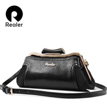 REALER  women messenger bags small high quality PU leather ladies shoulder crossbody bags fashion retro evening bag female Сумка