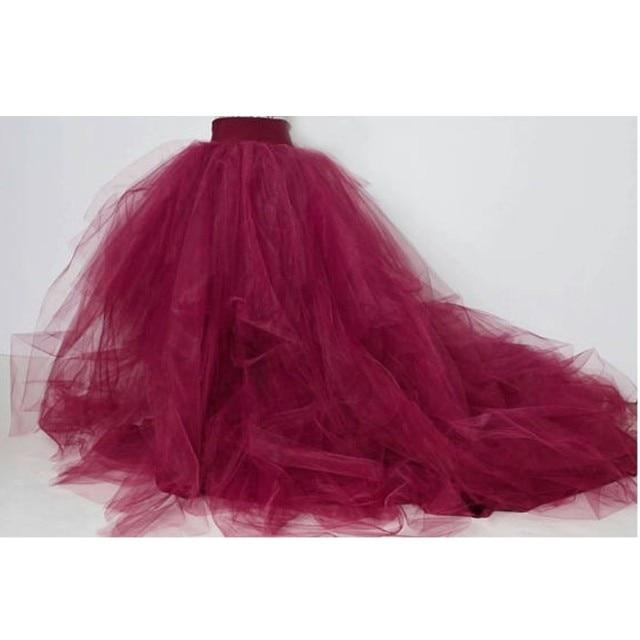 07da2e8344 Wine Red Puffy Tulle Skirts For Women Photoshoots 2017 Chustom Made Zipper  Style Female Tutu Skirt With Train Bridal Skirt