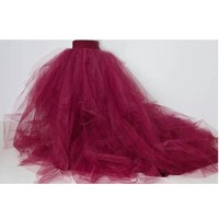Wine Red Puffy Tulle Skirts For Women Photoshoots 2017 Chustom Made Zipper Style Female Tutu Skirt With Train Bridal Skirt