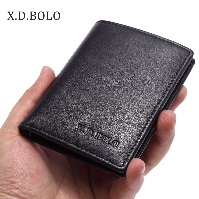 XDBOLO European Best Selling Double ID Window Card Holder Slim Minimalist Front Pocket Genuine Leather Wallets for Men