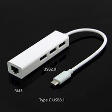 USB 3.1 Type-c 3-port Compact HUB to RJ45 10/100 Mbps Ethernet Adapter for Apple 12-inch Macbook and Chromebook Pixel White