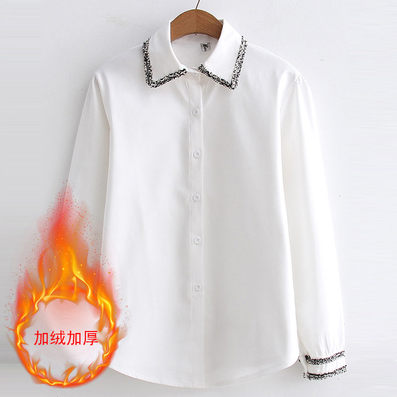QoerliN Autumn Warm Fleece Blouse Women Winter Basic Tops White Shirts Ladies OL Office Business Work Wear Plus Size New Arrival in Blouses amp Shirts from Women 39 s Clothing