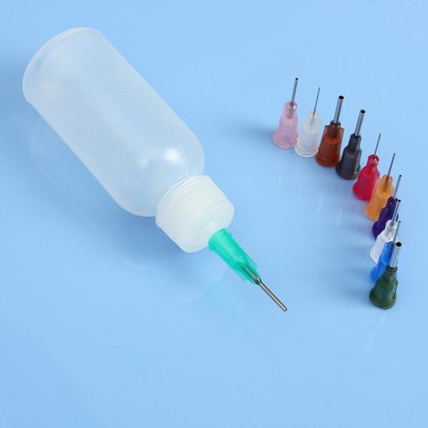 Top Quality 50ml Empty E-liquid Plastic Rosin Flux Alcohol Bottle For Dispenser Rosin Solder Flux Paste + 11Needles Tool Parts