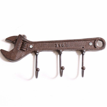Creative Cast Iron European Retro Wrought Iron Key Hook Wrench Shaped Hanger Creative Coat Hook Door Hooks Metal Crafts Decor цена и фото
