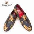Piergitar новый стиль Handmade Абстрактные картины обувь Мода Мужчины некурящих тапочки Выпускного Вечера и Банкетный мужчины мокасины мужские квартиры