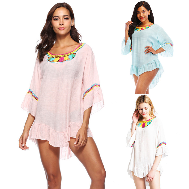 Women's Beach Outings 2019 Robe Plage Pareo For Women Summer Kaftan New Blouses Long Sleeve Leaves At Patterned Irregular