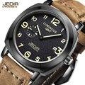 Top brand jedir relojes militares reloj del deporte negro mate de cuero genuino reloj de cuarzo hombres de lujo para hombre reloj relogio masculino